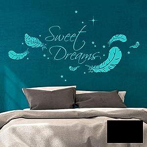 Wandtattoo Familie Aufkleber Sweet Dreams Federn & Sternen Wanddeko Wandbild M1759 - ausgewählte Farbe: *schwarz* ausgewählte Größe: *L - 65cm hoch x 120cm breit*