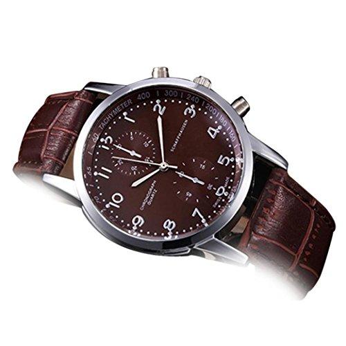 FeixiangReloj Deportivo Pareja Reloj Nuevo Reloj De Pulsera De Cuarzo De Acero Inoxidable De Cuero Unisex (Marrón, A)
