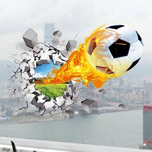 Preisvergleich Produktbild AUVS® 3D- Selbstklebende Abnehmbaren Durchbrechen Die Mauer Vinyl Wandsticker / Wandgemälde Kunst Aufkleber Dekorateur (Unter Feuer Fußball Flying Fire Football (50*70cm))