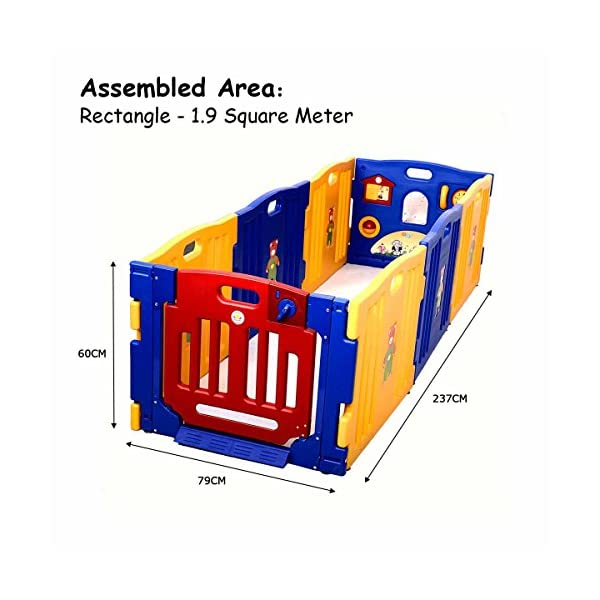 COSTWAY Baby Playpen with 8 Colorful Panels, Upgraded Safety Lock, Changeable into Octagon, Rectangle, Square, Triangle as Infant & Toddlers Activity Center (Blue) Costway 【Easy to install and clean】Easy to assemble within a few seconds. You can enjoy a happy time when install the playpens with your family. Polyethylene materials allows for easy cleaning and maintenance. 【Stylish and multi- functions】Picture House, Play Phone, Spinning Balls are available so that your little one can enjoy playing alone for a while. The colorful design offers a dreamy activity center for your little angel. 【Premium Quality and safe Materials】Our baby Playpen is made of Polyethylene which has an extensive application on daily necessities, it is non-toxic and extraordinarily stable. EN71 products meet European standards. 5