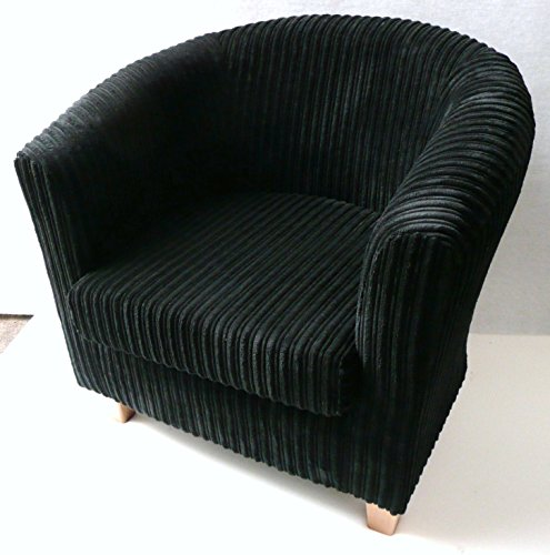 Luxury traditional shape Tub chair in Black jumbo cord..If you see any other fabric you like in my other items including jumbo cords..faux leather and chenilles please ask as we can make this chair in most fabrics.)