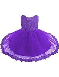 1fea21ace6b81 iiniim Bébé Fille Lace Robe de Mariage Soirée Dentelle Tulle Robe de Princesse  Baptême Robe sans