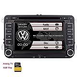 Double 2 Neuer VW-Auto-DVD KitKat System Stereo din GPS-Navigation Bluetooth Autoradio Headunit f¨¹r VW Golf 5 6 POLO JETTA TOURAN EOS PASSAT CC TIGUAN SHARAN SCIROCCO Caddy + CANBUS F¨¹r Lenkrad-Steuerung + Analog-TV