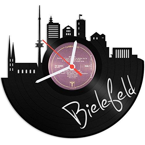 GRAVURZEILE Wanduhr aus Vinyl Schallplattenuhr Skyline Bielefeld Upcycling Design Uhr Wand-Deko Vintage-Uhr Wand-Dekoration Retro-Uhr Made in Germany