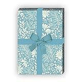Zartes Blumen Geschenkpapier mit Wiesen Blüten auch zur Hochzeit, Taufe, hellblau, für tolle Geschenk Verpackung und Überraschungen (4 Bogen, 32 x 48cm) Dekorpapier, Papier zum Einpacken