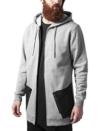 Urban Classics Herren Kapuzenpullover Long Peached Tech Zip Hoody Mehrfarbig (gry/blk 119)