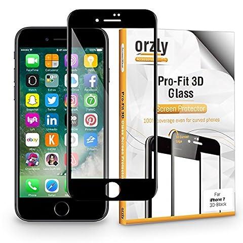 iPhone 7 Schutzfolie [Vollglas], Orzly® 3D Pro-Fit – Panzerglas / Tempered Glasfolie / Displayschutzfolie - (Telefono Guardia Schermo Custodia In Silicone)