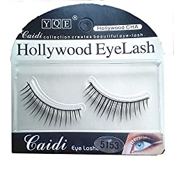 YQE Imported 1 Pair Black Natural Thick Long False Eyelashes with Adhesive -5153