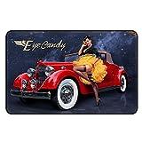 Cadora Magnetschild Kühlschrankmagnet Vintage Retro Werbung Eye candy Auto rot Frau sexy Straps Strümpfe