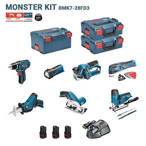BOSCH Kit 12V BMK7-28FD3 (GSR 12V-15 + GKS 12V-26 + GST 12V-70 + GOP 12V-28 + GSA 12V-14 + GLI 12V-80 + GHO 12V-20 + 3 x 2,0Ah + GAL1230CV + 2 x L-Boxx 136 + L-Boxx 238)