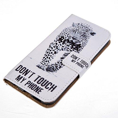 Cozy Hut Schutzhülle / Cover / Hülle / Handyhülle / Etui für Samsung Galaxy S6 Edge Bunt Muster Design Folio PU Leder Tasche Case Cover im Bookstyle mit Standfunktion Kredit Kartenfächer mit Weich TPU berühren Sie nicht mein Telefon