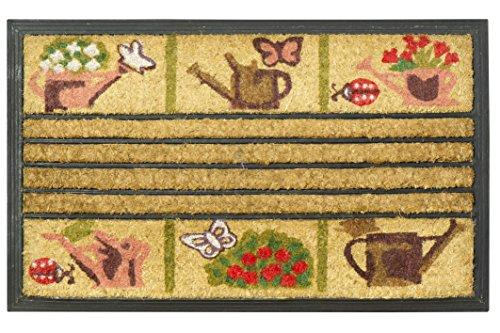 Jute & Co Zerbino in Fibra di Cocco Stampato con Fondo in Gomma, 45 x 75 cm, Disegno Garden - Disegno Di Gomma Zerbino