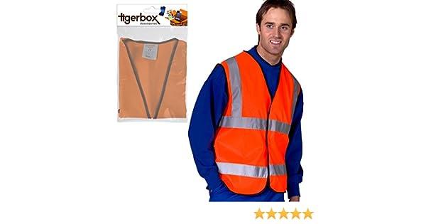 Motorbike Suitable For Cycling Bike Orange Driving Tigerbox/® Be Safe Be Seen Adult Hi-Vis Safety Vest Waistcoat 5XL Biker Road Side Motorcycle