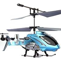 Tera F103 Giocattolo elicottero 4 canali con telecomando a infrarossi a giroscopio LED + Mini vettura (blu) ¡