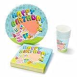 UMOI Einweg Geburstag Partygeschirr Set - 30 Hochwertige Pappteller, 30 Pappbecher und 60 Servietten für den Kindergeburstag 120tlg. (Geburtstag)