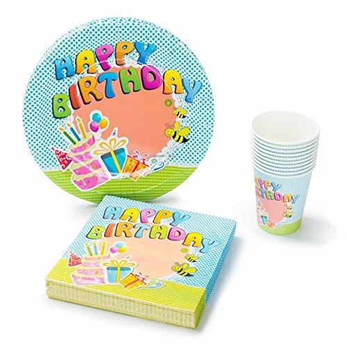(UMOI Einweg Geburstag Partygeschirr Set - 30 Hochwertige Pappteller, 30 Pappbecher und 60 Servietten für den Kindergeburstag 120tlg. (Geburtstag))