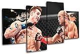 Bold Bloc Design - MMA BJ Penn Sports - 240x135cm Leinwand Kunstdruck Box gerahmte Bild Wand hängen - handgefertigt In Großbritannien - gerahmt und bereit zum Aufhängen - Canvas Art Print