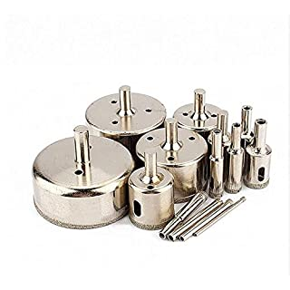 14pcs 3-70mm Metal Material Silver Color Diamond Coated Core Drill Bit Tile Marble Glass Ceramic Hole Saw Set