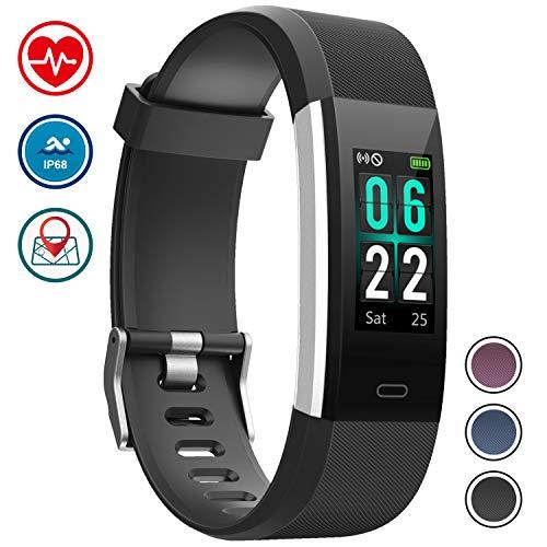 WOWGO Fitness Armband,Farbbildschirm Fitness Tracker Schrittzähler Sportuhr IP68 Wasserdichtes Smart Armband Pedometer mit Herzfrequenzmesser 14 Sportmodi für Android IOS -