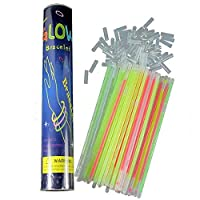 100 Pieces Multi Colors Party Glow Sticks Bright Glow Bracelets (8 inch with 100 connectors)