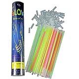 100 Pieces Glow Stick Multi Colors Party Glow Sticks Bright Glow Bracelets (8 inch with 100 connectors)