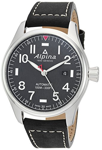Alpina Men's 'Startimer' Swiss Automatic Stainless Steel and Leather Casual Watch, Color:Black (Model: AL-525NN4S6)