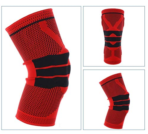 GZSC 1 STK Kneepad for fette Person S-5XL Plus Size Basketball Unterstützung Silikon Padded Knieschoner Unterstützung Klammer Patella-Schutz-Schutz-Knie-Auflage (Color : Red, Size : 4XL 60cm to 64cm)