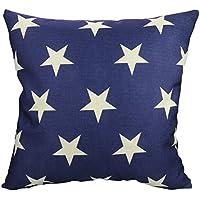 Luxbon Funda de Cojín Almohada Lino Duradero Estrellas Azul Decoración para Sofá Cama Coche 18x18