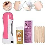 Depilazione Kit Epilazione Professionale Riscaldamento Cera Scaldacera Wax Rullo + Cera Calda + spatole in legno + strisce di carta per la ceretta (Miele)