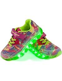 Shinmax LED Zapatos, Primavera-Verano-Otoño Transpirable Zapatillas LED 7 Colores Recargables Luz Zapatos de Deporte de Zapatillas con Luces Para Niños Niñas con CE Certificado
