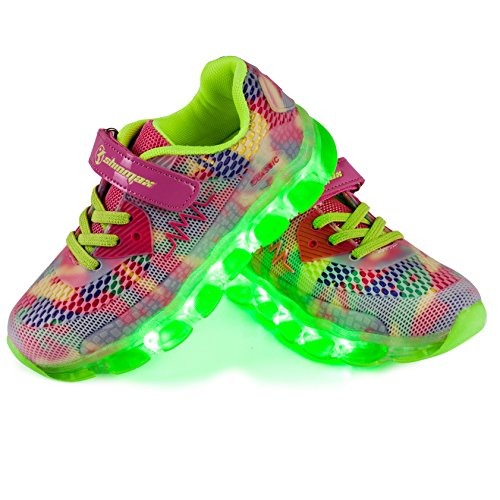 Shinmax Frühling-Sommer Neu ins Leben gerufen Kid LED Turnschuhe 7 Farb-LED-Schuhe mit CE-Zertifikat (36,Rosa) (Leben Nacht Licht)