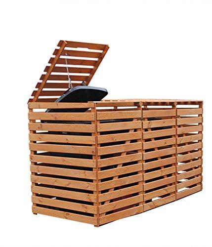 Mülltonnenbox Holz V für drei 240 Liter, Farbe Honigbraun