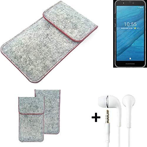 k-s-trade® custodia protettiva in feltro compatibile con fairphone fairphone 3 copertura borsa copertina tasca grigio chiaro bordo rosso + auricolari