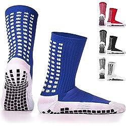 LUX Antideslizante Calcetines De Fútbol, antideslizante calcetines de deporte, almohadillas de goma, Trusox/tocksox Style, Top Calidad, Baloncesto, Fútbol, senderismo, running, availabe en color blanco, negro, rojo, azul, color Azul - azul, tamaño UK 5.5 - 11
