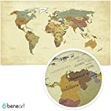 beneart® Weltkarte Vintage - Poster XXL - Weltkarte alt - Retro Motiv - Landkarte Poster groß - Geschenkidee - Weltkarte Wandbild - 140 x 82 cm