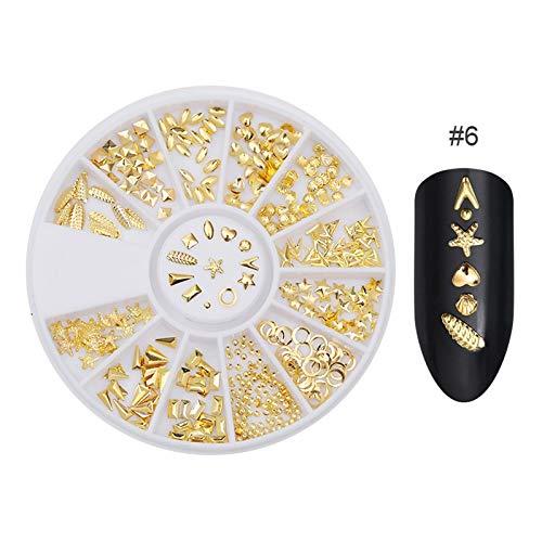ekoration Gold Metallkette Perlen Linie Multi-size Schlange Knochen DIY Maniküre Nail Art Dekoration in Rad, 403460 ()