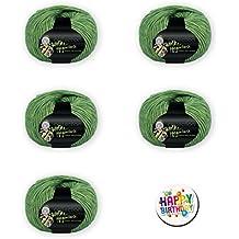 Kandy Mountain: Sets de regalos bajo: 3, 5o 10knäuel a 50g. 65% algodón 35% Lana de Merino Extrafina + por 1Button Happy Birthday 05er Set Farbe 74 + 1 BUTTON