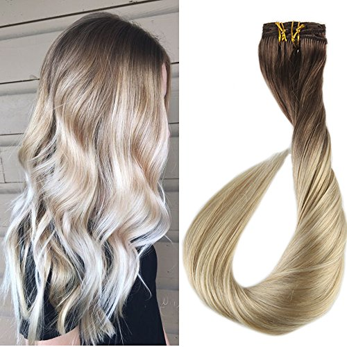 Full Shine 18 Zoll/45cm 7Pcs 120g/Set Remy Clip in Haarverlängerungen Voller Hauptfarbiger Klipp in den Balayage Menschenhaar Verlängerungen Ombre Farbe 6B Fading zu 613 Blond