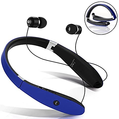 [Long Battery Life] Foldable Neckband Bluetooth Headphones with Retractable Earbuds - Stereo Noise Canceling Sound - Wireless headset for Bluetooth Enabled Devices