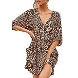 CANDLLY Kleider Damen Sommer, Frauen Mode V-Ausschnitt Kurzarm Leopardenmuster Spleißen Taste Kleid Damen Kleider Rock Freizeitkleid Strandkleid Braun(Braun,S