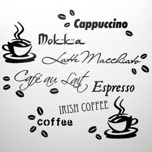 Preisvergleich Produktbild WANDfee® Wandtattoo Coffee 80cm x 70cm Cafe Kaffee Küche Spruch Sprüche Tassen Bohnen