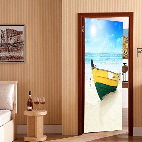 ZHANGQI 3D Türaufkleber Kreativ Strandboot Wohnzimmer Schlafzimmer PVC Umweltschutz Wandbild Hintergrundbild Wasserdicht Selbstklebend Abnehmbar,77*200cm