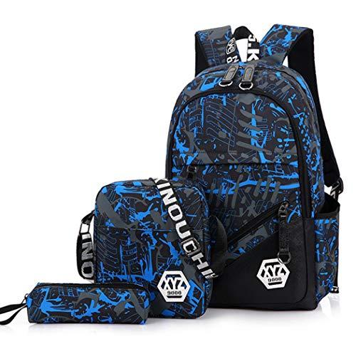 Juego de 3 bolsas escolares para niños + bolsa pequeña para el hombro + estuche para lápices, mochila de viaje impermeable para niños Azul azul Talla única