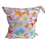 Tinksky Giraffa carino modello animale bambino con cerniera impermeabile riutilizzabile lavabile panno pannolino Nappy Bag bagnato asciutto borsa Tote con impugnatura morbida di schiocco (bianco)