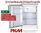 PKM Unterbaukühlschrank mit Gefrierfach Nutzinhalt 83 Liter