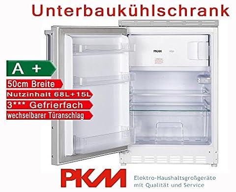 PKM Unterbaukühlschrank mit Gefrierfach Nutzinhalt 83 Liter / A+ / 50cm Breit / automatische Abtauung im Kühlteil / weiß / Kühl-Gefrier-Kombination Unterbau