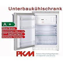 PKM Unterbaukühlschrank mit Gefrierfach Nutzinhalt 83 Liter / A+ / 50cm Breit / automatische Abtauung im Kühlteil / weiß / Kühl-Gefrier-Kombination Unterbau Kühlschrank