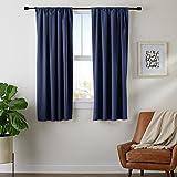 "AmazonBasics Room Darkening Blackout Curtain Set of 2 with Tie Backs - (5.25 Feet - Window) 52"" x 63"", Navy"