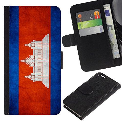 Graphic4You Vintage Uralt Flagge Von Philippinen Philippinische Design Brieftasche Leder Hülle Case Schutzhülle für Apple iPhone 6 / 6S Kambodscha Kambodschaner