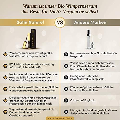 Der SIEGER 2018* BIO Wimpernserum - Mit Bio Rizinusöl - Rein Natürliche Wirkstoffe - 5ml Wimpern & Augenbrauen Wachstum Booster zur Wimpernverlängerung - Vegan + Halal Naturkosmetik MADE IN GERMANY